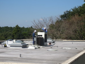 屋上 室外機洗浄-1