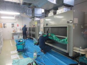 大型床置きエアコン洗浄
