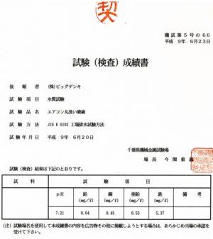 試験(検査)成績書